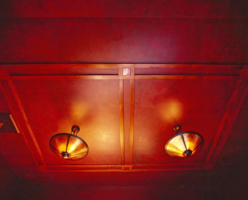 Decorative painting faux finish red leather ceiling MoMo's Restaurant