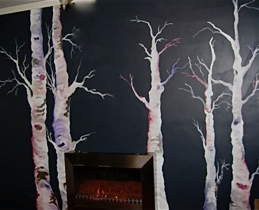 Decorative wall painting birch trees